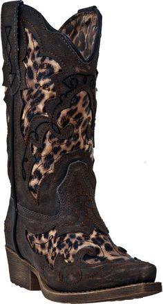 Girls Leather Cowboy Boots with Leopard Print #Laredo #Boots