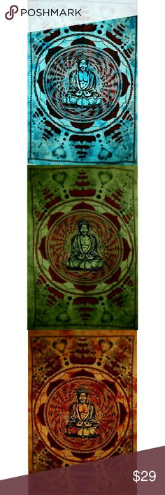 Buddha in Dharma Chakra Mudra Tapestry Dharma Chakra Mudra - Symbolizing the wheel of Dharma where the thumb and index finger on both hands touch their tips to form a chakra/wheel.  Buddha is sitting in meditation, surrounded by lotus flowers and mandala.  Even though the lotus flower grows in muddy waters, it rises above mud, blooming fearlessly out into the world.     *100% Cotton & Handcrafted with natural dyes  *Twin Size Other
