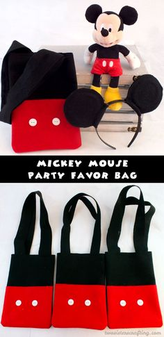 Our Mickey Mouse Party Favor Bags are adorable, fun and so easy to make. The Mickey Mouse fans at your Mickey Mouse Birthday Party will love them - what a great way to say thanks for coming to our Mickey Mouse Party. Follow us for more fun Mickey Mouse Party Ideas.