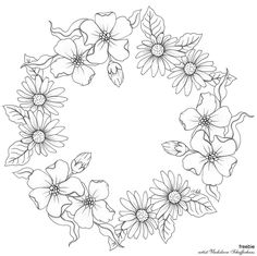 Diy Embroidery Patterns, Embroidery Art, Bordado Floral, Floral Doodle, Wreath Drawing, Silhouette Clip Art, Art Drawings For Kids, Floral Border, Floral Illustrations