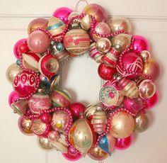 Wreath made from Christmas bulbs