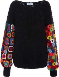 Exclusive Crocheted-Panel Cashmere-Blend Sweater : Click product to zoom Crochet Bodycon Dresses, Black Crochet Dress, Crochet Blouse, Knitting Stitches, Knitting Patterns, Crochet Patterns, Crochet Granny, Knit Crochet, Crochet Capas