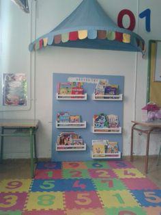 Rincón de lectura en aula de 3 años.