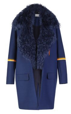 Scuba Wool Tippi Coat With Sheepskin Collar by Preen for Preorder on Moda Operandi