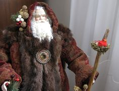 Father Christmas Doll: Burgundy and Brown by FatherChristmasJoy