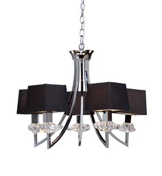 """The noble """"Savoy"""" collection features rich Black square natural fibre shades on polished chrome fixtures. The crystal bobeche is organically shaped to accent this rich looking collection. (5 Light Chandelier)"""