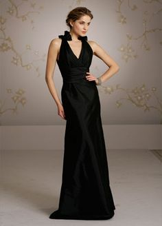 New Arrival Sheath Column V Neck Floor Length Black Bridesmaid Dress 004550062001