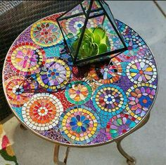 Mosaic colorful table