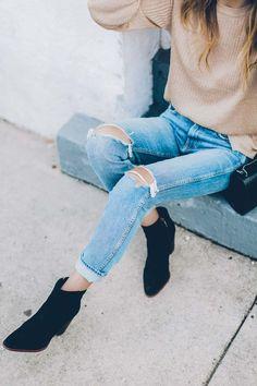 GRLFRND denim and black suede booties / Jess Kirby