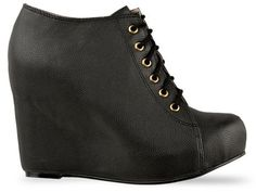 Jeffrey Campbell 99 Lace Up Tie Wedge Boots Booties Size 6 5 Black   eBay