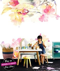 Spring Floral Wallpaper Floral watercolor Wall Mural Floral