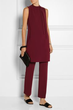 Burgundy crepe Concealed hook and zip fastening at back 70% triacetate, 30% polyester; lining: 100% polyester Dry clean Designer color: Cherrywood