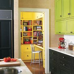 Putting a desk in a space just outside the kitchen provides a bit of privacy for independent workers but keeps them close just in case they need homework help. Easy access to snacks is also a plus. | Photo: Laura Moss | thisoldhouse.com