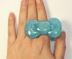 Kawaii Giant Blue w/ Glitter Bow Ring Hello Kitty by AutumnBlaze, $8.00