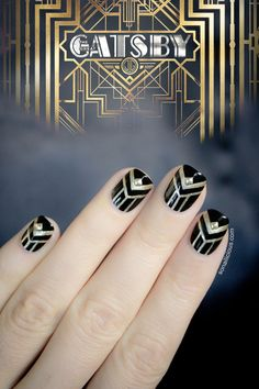 Gatsby Nail Art #Black #Gold