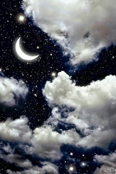 Would be interesting to do something with a mid night sky like this. Maybe create some shape in the clouds Beautiful Moon, Beautiful World, Stars And Moon, Sky With Stars, Galaxy Wallpaper, Wallpaper Backgrounds, Moon And Stars Wallpaper, Iphone Wallpaper, Moon Art