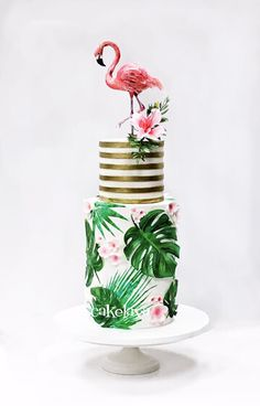 Wedding Cakes in Las Vegas Flamingo Party, Flamingo Decor, Flamingo Birthday, Jungle Theme Birthday, Luau Birthday, Tropic Cake, Hawaii Cake, Hawaii Hawaii, Jungle Cake