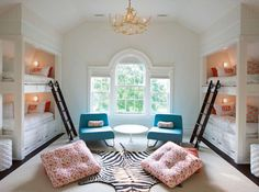 bunk beds, lighting and seating.