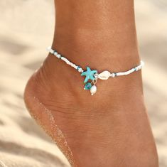 Ankle bracelets - IF ME Fashion Bohemian Imitation pearls Starfish Charms Bracelets Anklets For Women Summer Foot Chain Shell Jewelry Gift – Ankle bracelets Shell Jewelry, Sea Glass Jewelry, Beach Jewelry, Wire Jewelry, Jewelry Gifts, Jewelry Accessories, Jewelry Trends, Jewellery, Jewelry Shop