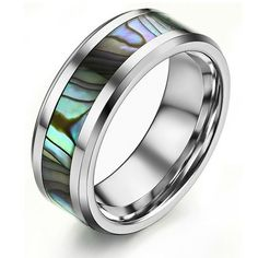 Crownea Tungsten Carbide with Ceramic Shell Pattern Ring Unisex Engagement Wedding Band -