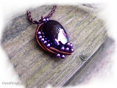 Large Aubergine Color Ceramic Bead Pendant with by gunadesign