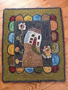 Folk Art Primitive Hand Hooked House Rug | eBay