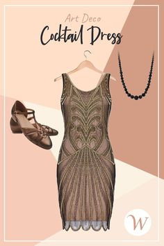 If you love the Great Gatsby Era era of the 1920s, you'll love the vintage glamour of this soft noir Art Deco Cocktail Dress in Nude Black