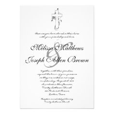 Simple Black & White Christian Wedding Invitation