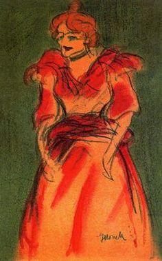 """Isidre Nonell Monturiol (1873 - 1911). """"Cantante de Cabaret, 1897"""". Lápices de colores y acuarela. 31 x 20 cms. Gabinete de Dibujos y Grabados del MNAC, Barcelona. España."""