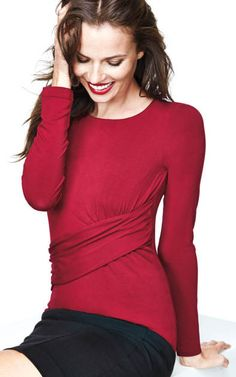 The fabulous Applaud Top reinvented in a festive, holiday red. Perfect for holiday dressing! You can wear this to work or out for a night of fun!! Ingenious cross-front seaming and ruching provide perfectly placed coverage, while also highlighting your best features.  You gotta love a top that will highlight your best features!!! #cabiclothing #CAbiGifts #ad