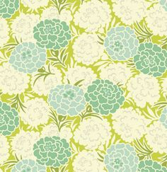 Fabric... Up Parasol Mums in Chartreuse by Heather Bailey for FreeSpirit