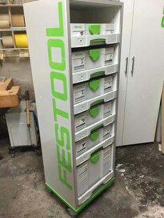 Festool DIY SYS-Port Workshop Design, Workshop Storage, Garage Workshop, Tool Storage, Locker Storage, Systainer Festool, Festool Tools, Tool Workbench, Small Parts Storage