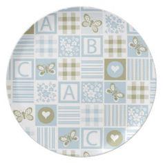 Beautiful Baby Block Pattern Party Plates