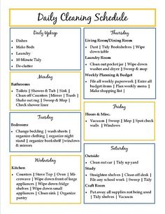 Daily Cleaning Schedule @ MyHomeLookBookMyHomeLookBook
