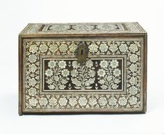 Date: early to mid 17th century (made)  Materials and Techniques:  Wood, veneered and inlaid with engraved ivory; brass and iron mounts