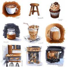 Watercolor Coffee Bundle by Manuka on *affiliate Japon Illustration, Coffee Illustration, Watercolor Illustration, Coffee Love, Coffee Art, Coffee Shop, Watercolor Food, Watercolor Painting, Watercolors