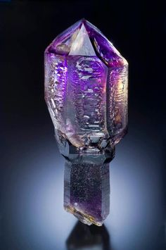 A 19 cm (7.5 inch) tall QUARTZ v. AMETHYST scepter from the Goboboseb Mountains in Namibia.