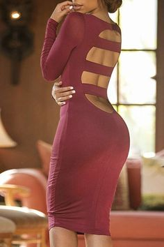 Sexy Women's Scoop Neck Long Sleeve Cut Out Bodycon Dress