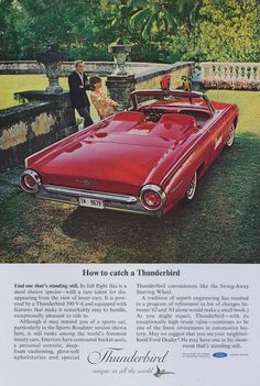 1963 Ford Thunderbird Ad Red Convertible Classic by AdVintageCom