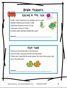 Printable Math Puzzle Sheets from Games 4 Learning - These are idea for Summer Math fun!  These 13 Math Puzzle sheets use a Summer seaside theme to challenge and extend student's math skills. $