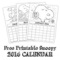 Get your kiddos organized for the new #New Year with this #free printable Snoopy calendar!