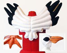 Pelican Wings Hat Feet. Bird Costume, Goofy Bird, Fun.
