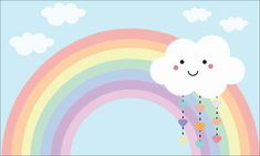 Pastel Rainbow Background, Kids Background, Background Pictures, Cute Backgrounds, Cute Wallpapers, Cloud Party, Baby Dekor, Vintage Flowers Wallpaper, Baby Posters