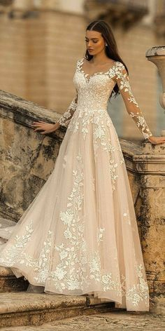 36 Lace Wedding Dresses That You Will Absolutely Love lace wedding dresses a line with illusion long sleeves lussano Best Wedding Dresses, Bridal Dresses, Wedding Dress Lace, Weeding Dresses, Illusion Wedding Dresses, A Line Wedding Dress With Sleeves, Sweetheart Wedding Dress, Country Wedding Dresses, Gorgeous Wedding Dress