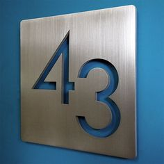 "Custom Modern 9"" Square Floating House Numbers Stainless"