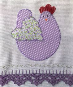 This is an'easy-peasy' and delightful chicken to appliqué on a dish towel.