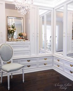Dressing room walk-in closet mirror cabinet doors closet drawers vanity styling | Classy Glam Living