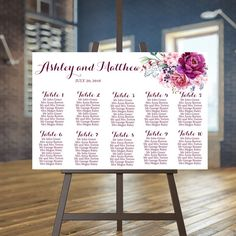 Wedding seating chart printable Burgundy guests by instanttrends