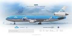 McDonnel Douglas MD-11 KLM Royal Dutch Airlines PH-KCE | www.aviaposter.com | Airliners profile print | #airliners #aviation #jetliner #airplane #pilot #avia #airline