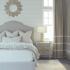 Light Gray Bedroom with Gay Curtains with White Stripes